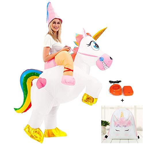 Disfraz Inflable De Unicornio Adulto, Halloween, Carnaval, Cosplay, Disfraz Animadora (Siete Colores)