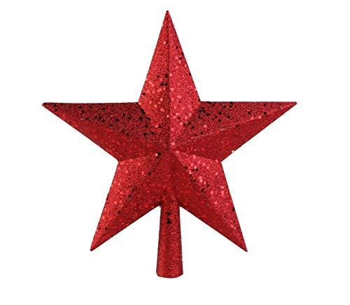 NICEXMAS Weihnachtsbaumspitzen Spitze für Weihnachtsbaum Stern Treetop Treasures Rot Glitzernden Weihnachtsbaum Baum Topper Dekoration, 9 Zoll