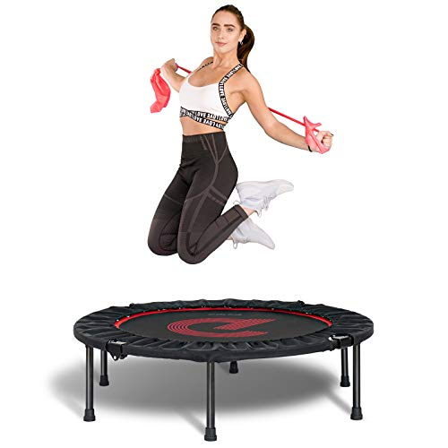 pelpo 40' Folding Mini Trampoline, Fitness Rebounder with Safety Pad, Exercise Bounce for Adults Indoor/Outdoor Workout Max Load 330lb, Black