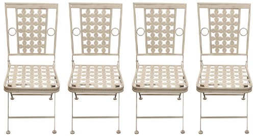 Maribelle 4 x Square Folding Metal Garden Patio Dining Chairs Outdoor Furniture