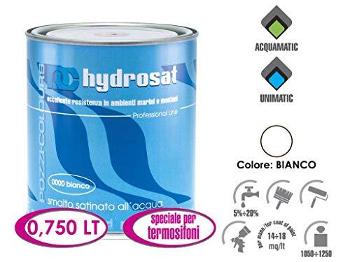 Pozzi Hydrosat, 750 ml, witte lak voor radiatoren van gesatineerd acryl voor water, hout, metaal en muren