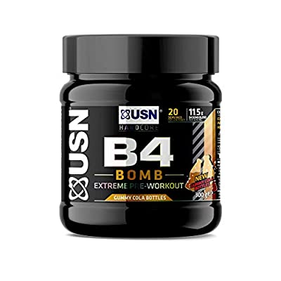 USN B4 Bomb Preworkout Energy Drink with Creatine, Caffeine, Zynamite and L-Citrulline, Cola Gummy Bears 300 g