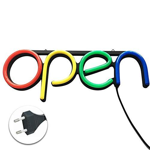 MOOUK LED Leuchtschild Open,Leuchtreklame geöffnet,Neonlicht Lichtwerbung Leuchtreklame für Bar, Schaufensterwerbung, Business, Büro, Laden, Restaurant(Mehrfarbig)