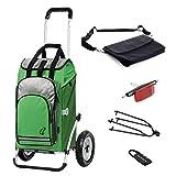 Andersen Einkaufstrolly Royal luftbereift mit Fahrrad-Anhängerkupplung für Gepäckträger und 60 Liter Einkaufstasche Hydro grün mit Kühlfach