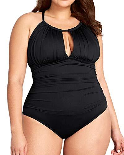 아쿠아 이브 여성 플러스 사이즈 V 넥 원피스 수영복 홀터 배가 통제 수영복