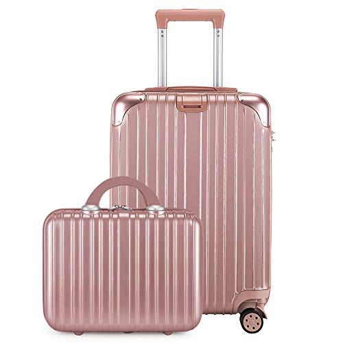 レーズ(Reezu) スーツケース 親子セット 化粧ケース キャリーケース 機内持込 ファスナー キャリーバッグ 超軽量 ジッパー 人気 ミニトランク TSAローク搭載 旅行出張 ピンク Pink Sサイズ 約42L