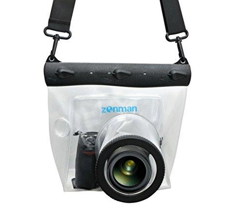Zonman DSLR Camera Univeral Waterproof Underwater Housing Case Pouch Bag for Canon Nikon Sony Pentax Brand Digital SLR Cameras (Transparent)