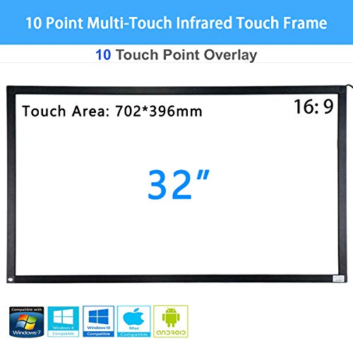 Pie 32 Zoll 10-Punkt-Multi-Touch-Infrarot-Touch-Frame, IR-Touch-Panel 16: 9-Infrarot-Touch-Screen-Overlay mit USB-Schnittstelle für LCD- / LED-TV-Display, Präsentation