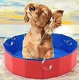 OKOUNOKO Piscinas Desmontables con Depuradora, Color Rojo Oscuro, Piscina Desmontable Perro, 60X20Cm