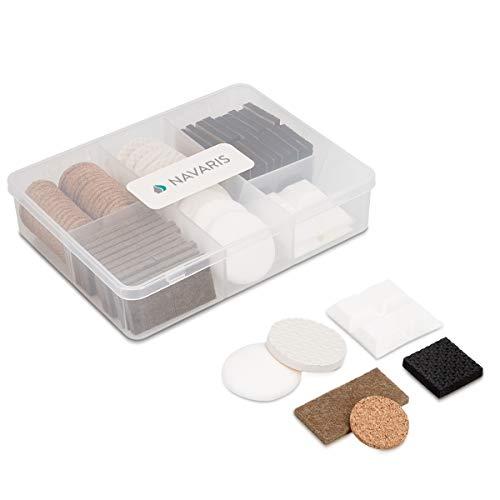Navaris 96 almohadillas autoadhesivas para muebles - Set de protectores de fieltro corcho y espuma de varias formas - Protección para el suelo