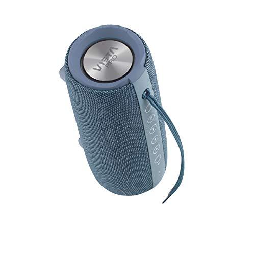 Vieta Pro Upper - Altavoz portátil (Bluetooth, Radio FM, micrófono integrado, True Wireless Dual pair, Reproductor USB, Lector de tarjeta Micro SD, Resistencia al agua IPX6) color azul
