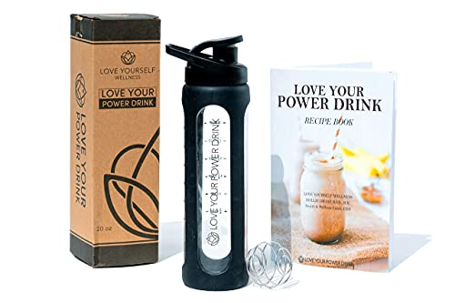 Love Yourself Wellness Glass Blender Bottle 20 oz Black for use as a Protein Powder Shaker Bottle or Smoothie Bottle Pre-Workout Power Drink Wide Mouth with measurements BPA Free Flip Lid-Leakproof Silicone Sleeve Sports Water or juice bottle. Includes BONUS x11 Power Drink Recipe e-book for Better Health, Stable Weight and More Energy. LOVE YOUR POWER DRINK!