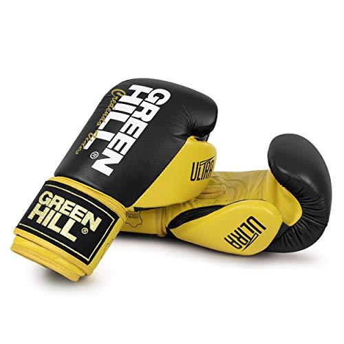 Green Hill Ultra Boxhandschuhe, Unisex, für Erwachsene, Unisex, BGU-2241, Schwarz/Gelb, 16 Oz (450 g)