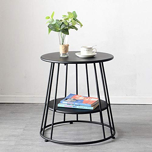 CC.Stars Round Sofa Side Table,Scandinavian simple side table, removable coffee table in living room, bedroom corner table, light round table-black_55*52cm