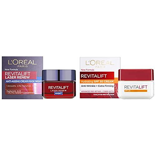 L'Oreal Paris Revitalift Laser Renew Anti-Ageing Smoothing Night Cream 50ml & Revitalift Day Cream, Anti-Wrinkle Moisturiser, SPF 30, 50 ml