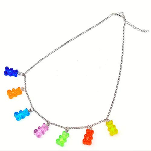 DYSCN Candy Bear Necklace Creative Gummy Bear Pendant Necklace Multicolor Resin accessories for Women Girls(Candy colors)