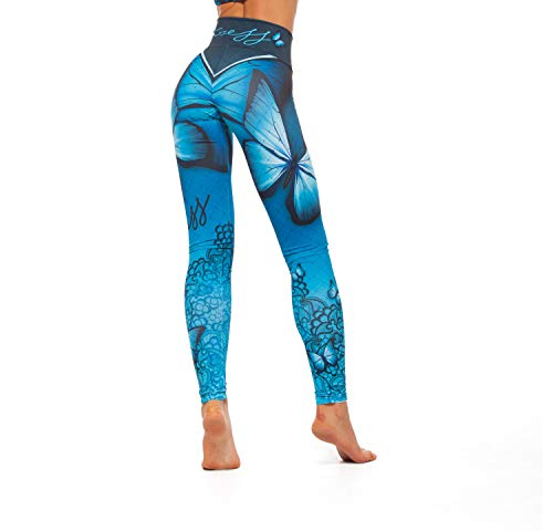 Excess leggins Mujer Fitness Yoga Mallas Deportivo Pilates, Running, Gimnasio, Maillot de Ciclismo Mochila Portatil de Regalos 3D Italiano push up de Fiesta Mujer Sexy Alas Azul (S)