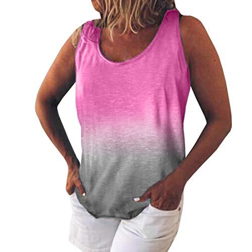Rainbow Striped Ladies Tank Top Chaleco de Color con Estampado de gradiente de arcoíris Cuello Redondo para Mujer Tie Dye Sin Mangas Ropa de Playa Manga Corta Printed Slim Tops Summer Beach T Shirt