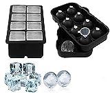 PURSEEK 2 - Stampi per sfere di cubetti di ghiaccio con misurino, in silicone, Nero, 2 Pezzi