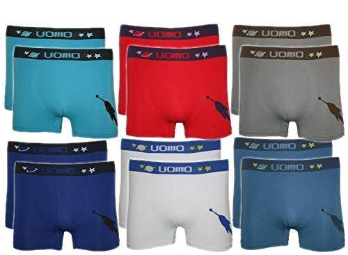 BestSale247 12 Stück Kinder Jungen Boxershorts Unterhosen Kids Unterwäsche Mikrofaser 98 bis 178 (98-104, Rakete)