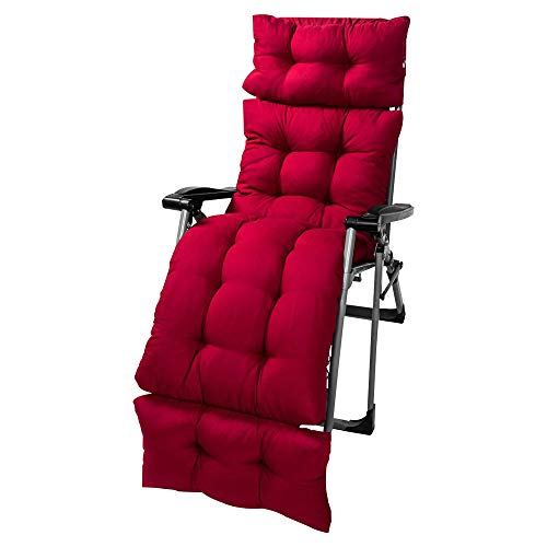 Sun Lounger Cushion, Garden Recliner Pads, a Chair Cover Has Been Added to the Top of the Cushion to Prevent the Cushion from Slipping. (180*55-wine red)