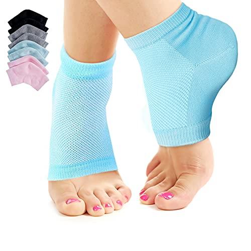 Nado Care 4 Pairs Heels Moisturizing Socks for Dry Cracked Heels Repair - Moisturizing Gel Heel Sleeves Open Toe Comfy Socks Day Night - Pink, Blue, Grey and Black