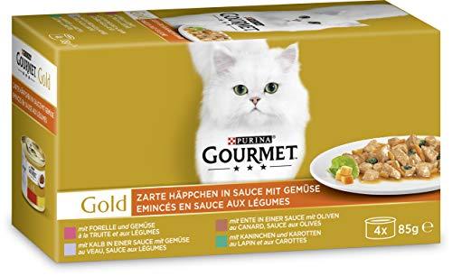 PURINA GOURMET Gold Zarte Häppchen in Sauce mit Gemüse Katzenfutter nass, Sorten-Mix, 12er Pack (12 x 4 Dosen à 85g)