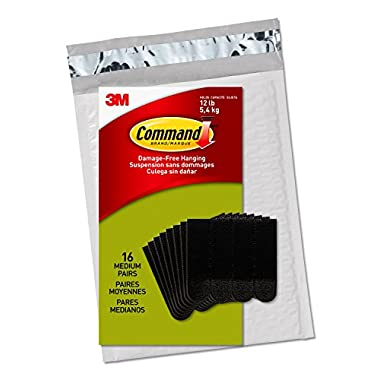 Command Medium Picture Hanging Strips, Black, 16 Pairs, Four Pairs Hold 12 lbs (PH204BLK-16NA) – Easy To Open Packaging