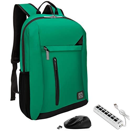VanGoddy Jade Green Anti-Theft Laptop Backpack w/USB Hub & Mouse Suitable for Lenovo ThinkPad, IdeaPad, Flex, Yoga, Legion, N Series, Chromebook Up to 15.6inch