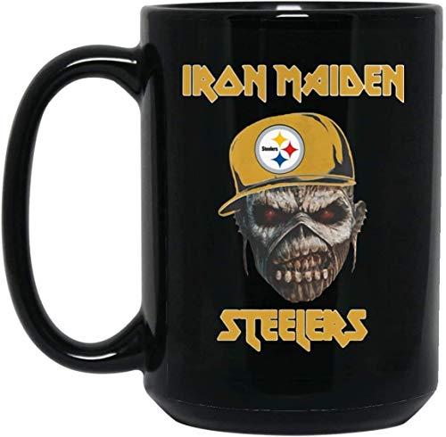 N\A Taza de café del Equipo de fútbol Profesional Iron Maiden de los Pittsburgh Steelers - Regalo Negro para Amigo Amante Fan Padre en cumpleaños navideño