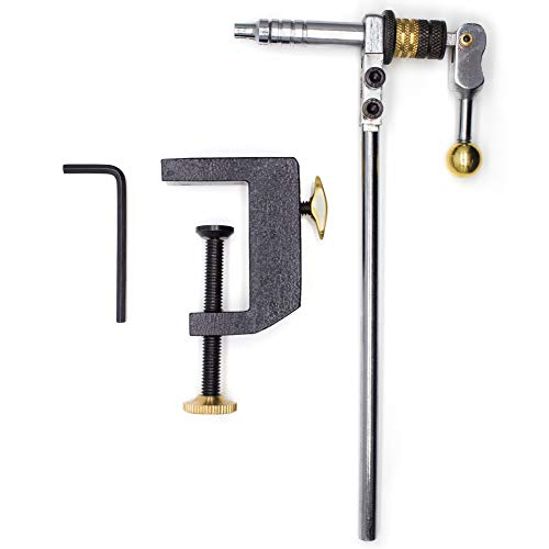 YZD Fly Tying Vise C Clamp Steel Hard Jaws 360 Rotating Table Vise of Fly Tying Tools kit Making Fly Fishing Tools Vice (Advanced Edition)