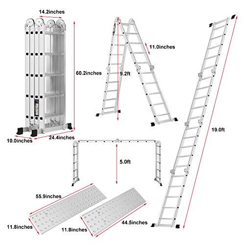 TimmyHouse Multi Purpose 19.5ft Aluminum Telescopic Ladder Heavy Duty Folding Extension