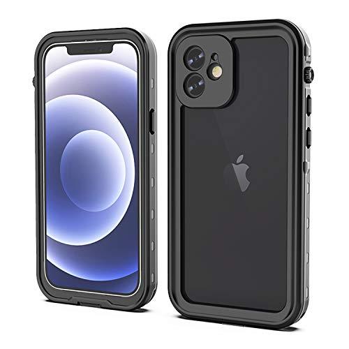 YOGRE - Funda para iPhone 12 (IP68, resistente al agua, 360 grados, antigolpes, resistente al polvo, con protector de pantalla integrado, transparente, resistente, para iPhone 12, color negro