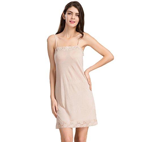 Hoffen Underwear Damen Mini Unterkleid mit Spitzen Frauen Unterrock Damen Nachthemd (L, Haut)