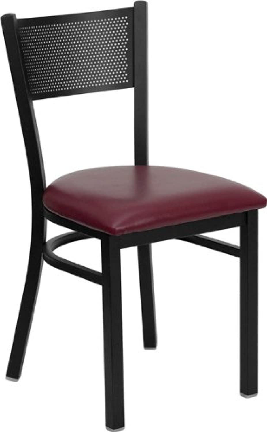 Flash Furniture HERCULES Series Black Grid Back Metal Restaurant Chair - Burgundy Vinyl Seat