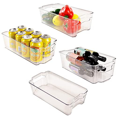 PAIWEI 4er-Set Aufbewahrungsbox für die Küche, Küchen Organizer aus Kunststoff, Gefrierschrank Space Saver, Kühlschrank Tidy Container Boxen– durchsichtig