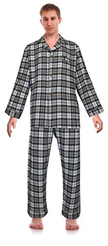 Robes King para hombre franela pijama de dos piezas a cuadros -  Gris -