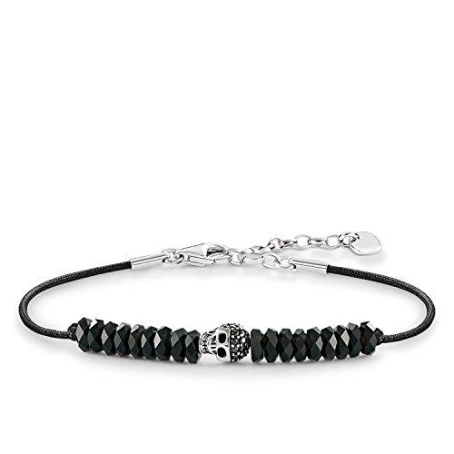Thomas Sabo Damen-Armband Love Bridge Totenkopf 925 Sterling Silber geschwärzt Nylon Zirkonia schwarz Länge von 15 bis 18 cm LBA0072-810-11-L19,5v