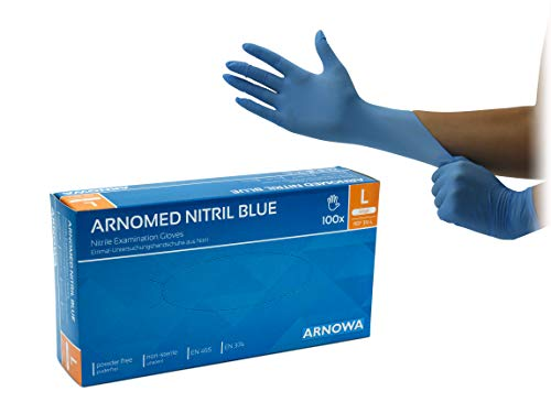 Nitrilhandschuhe puderfreie latexfreie blaue Einmalhandschuhe Größe L 100 Stück/Box ARNOMED Einweghandschuhe in gr. S M L XL