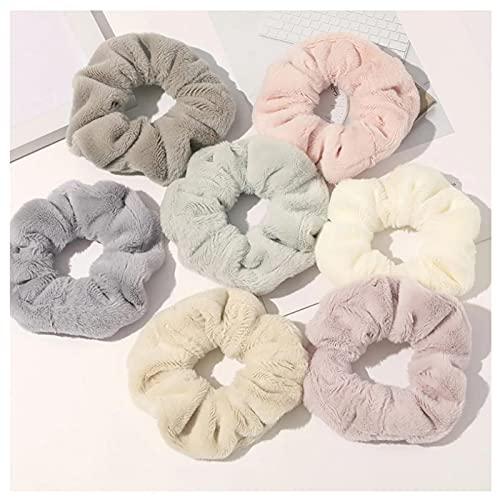 7 unids dulce visón piel cuerda de pelo mujeres accesorio flurry diadema lazos titular elástico alto grado coleteros moda accesorios para el cabello