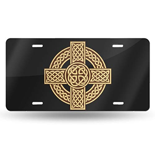 WAZZ CHUD Celtic Cross Irish Scottish Novelty License Plate Decorative Car Front License Plate Vanity Tag Aluminum Car Plate 6' X 12' Inch Car Plate License Plate Frame