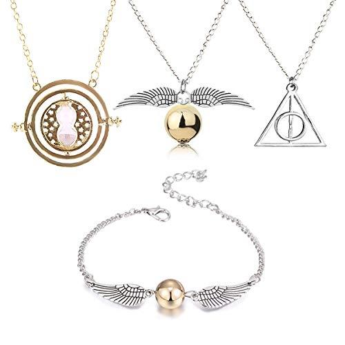 BabyCareV 4 Stück Halskette Armband mit den Heiligtümern des Todes Golden Snitch Time Turner Kette Anhänger Halskette für inspirierte Fans Geschenke Sammlungen