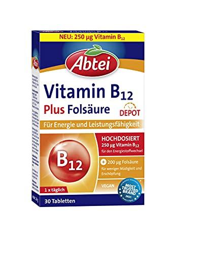 Abtei Vitamin B12 plus Folsäure - für Energie und Leistungsfähigkeit - hochdosiert mit 250µg Vitamin B12 und 200µg Folsäure, 1 x 30 Tabletten