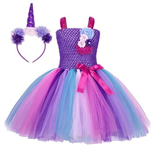 AmzBarley Einhorn Kostüm Tutu Kleid Kinder Einhörner Mädchen Prinzessin Kleider Geburtstag Party Ankleiden Karneval Halloween Cosplay Abendkleid Kleidung mit Stirnband, Lila, 3-4 Jahre