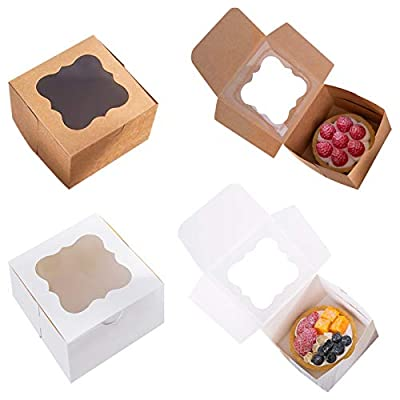50 Pack Brown Bakery Box with Window 4x4x2.5 inch Eco-Friendly Paper Board Cardboard Gift Packaging Boxes for Pastries, Cookies, Small Cakes, Pie, Cupcakes