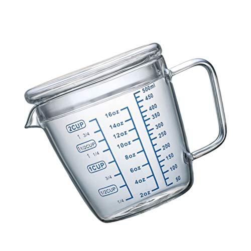 Cabilock de Medición de Vidrio de 500Ml con Tapa de Escala Recipiente de Medición para Hornear Transparente Recipiente de Medición para Mezclar Epoxi para Cocinar