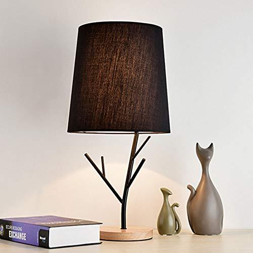 Lámpara de mesa Tyxl Lámparas LED Lámpara De Pie Personalidad Creativa En Madera Dormitorio De La Lámpara De Mesa De Noche Exquisita Casa De Moda 1 * E27 (26 * 52 Cm) (Color : Black)