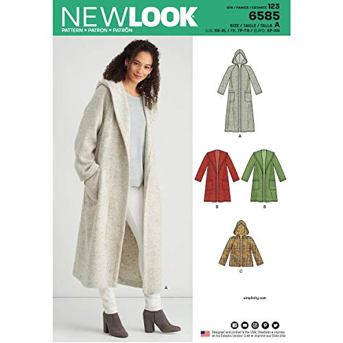 New Look UN6585ANew Look Pattern 6585 Misses' Coat with HoodA (XS-S-M-L-XL), White