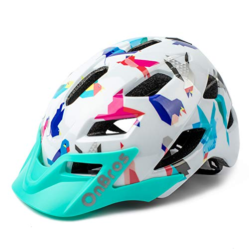 OnBros Kids Bike Helmet, Lightweight Cycling Helmet for Youth and Children, Size Adjustable Bicycle Helmets for Boys and Girls Age 5-13, 50-57cm (White)