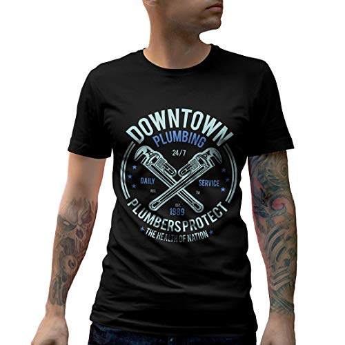 A046MCNTB Herren T-Shirt Downtown Plumbing Work Daily Service Plumbers Protect Health of Nation Wrench Maintenance(XX-Large,Black)